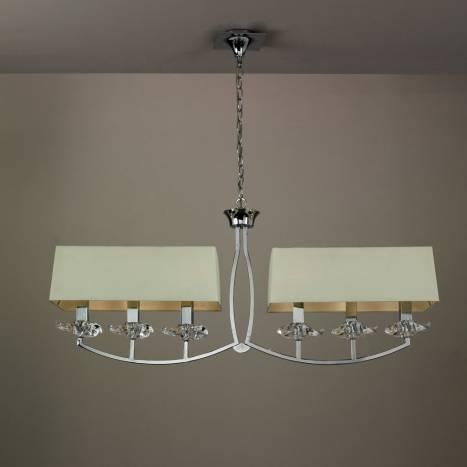Lampara de techo akira 6 luces pantallas en tela crema de - Lampara tela techo ...