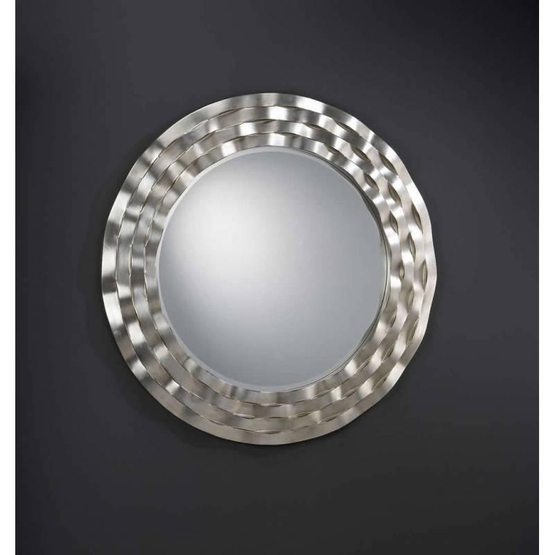 Espejo de pared redondo ondas pan de plata de de schuller for Espejo pared plata