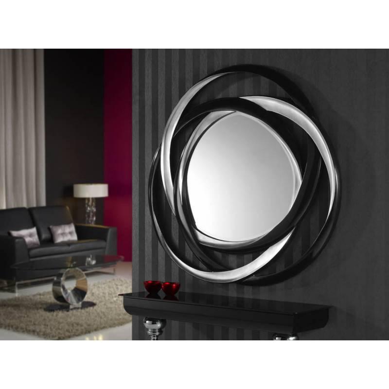Espejo de pared nadine plata y negro de schuller decoracion for Espejo pared plata