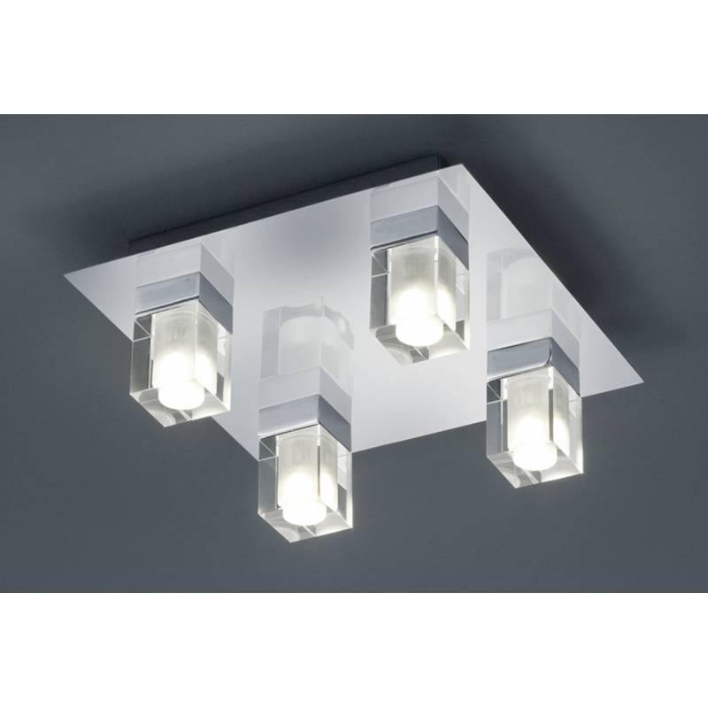 Plafon de techo 2819 4 luces led en metal cromo y cristal - Luces led para techo ...