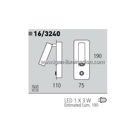 Aplique de pared Lecty 1 luz LED 3w negro de Daviu