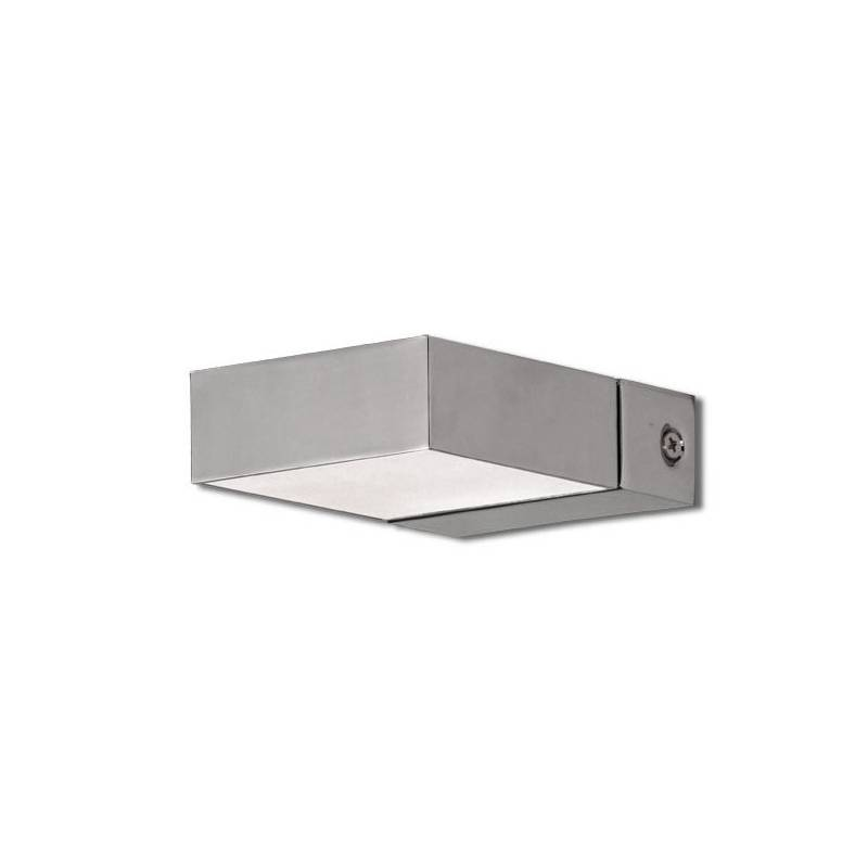 Aplique de pared box led 1 luz cuadrado cromo daviu - Apliques de luz para bano ...