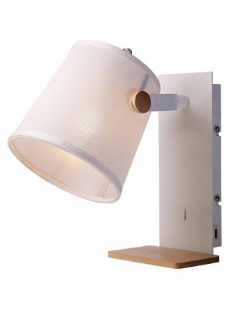 MANTRA Nordic 2 wall lamp USB white fabric