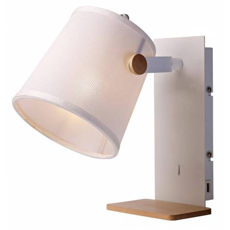 Wall Lamp With Usb : MANTRA Nordica 2 wall lamp USB fabric white