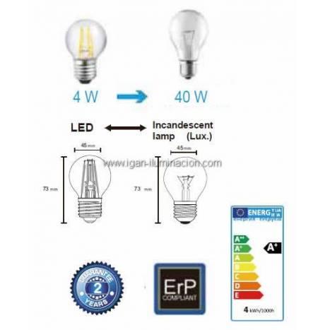 Bombilla LED 4w E27 Esférica decorativa - Mantra
