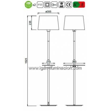 Lámpara de pie Nordica 2 USB tela blanca - Mantra