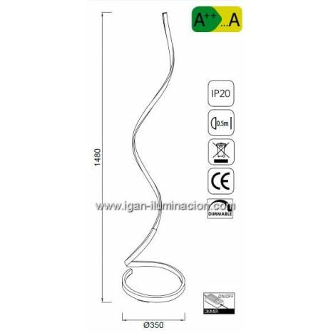 Lámpara de pie Nur LED 22w regulable forja - Mantra