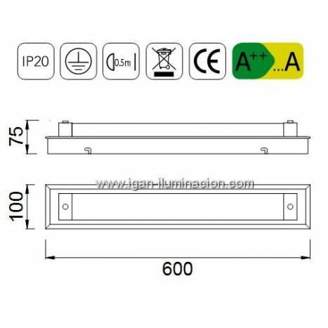 Aplique de pared Tube LED 21w - Mantra