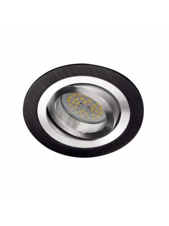 Foco empotrable Helium circular negro - Cristalrecord