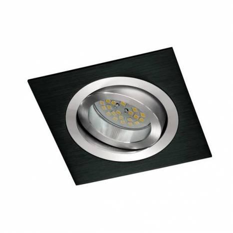 Foco empotrable Helium cuadrado negro - Cristalrecord