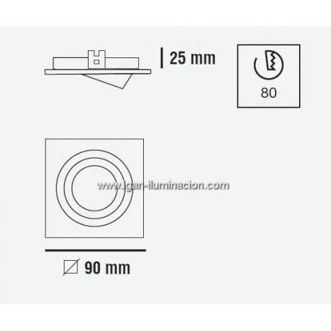 CRISTALRECORD Helium square recessed light aluminium