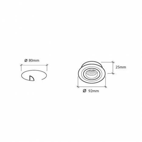 Foco empotrable A342 circular aluminio - Roilux