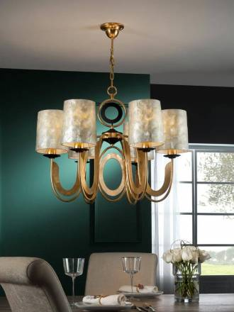 SCHULLER Eden pendant lamp 6 lights gold leaf