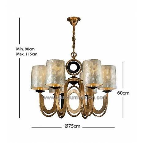 SCHULLER Eden pendant lamp 6 lights gold leaf