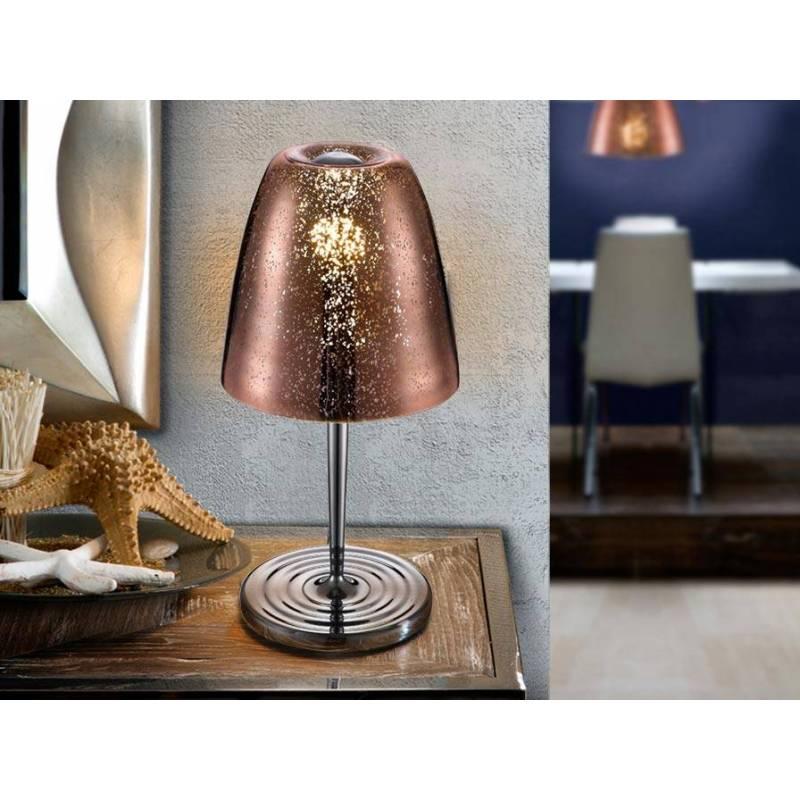 L mpara de mesa quasar 1 luz cristal cobre schuller for Lamparas de mesa de cristal