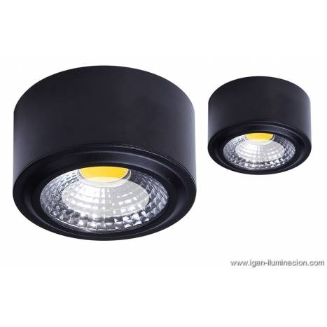Plaf n de techo tubi led aluminio negro daviu for Focos led superficie