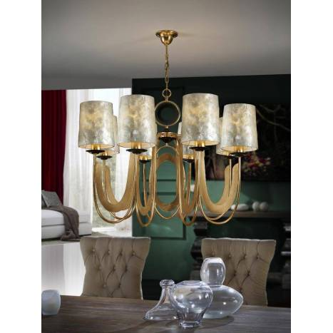 SCHULLER Eden pendant lamp 8 lights gold leaf