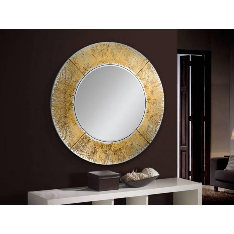Espejo de pared circular aurora pan de oro schuller for Espejo circular