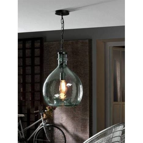 SCHULLER Laia pendant lamp 1 light blue crystal