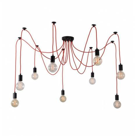 FILAMENT STYLE Spider pendant lamp 9L red
