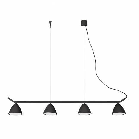 Lámpara colgante Flash LED 4 luces negra - Faro