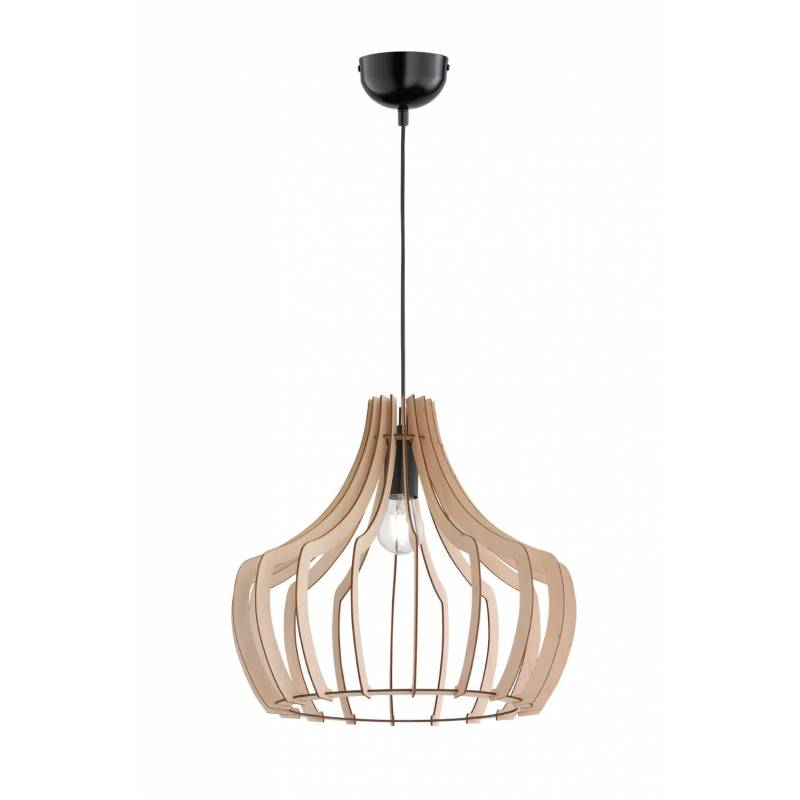 TRIO Wood pendant 1L E27 lamp 44cm