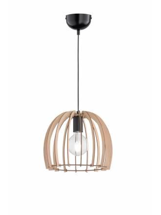 TRIO Wood pendant 1L E27 lamp 30cm