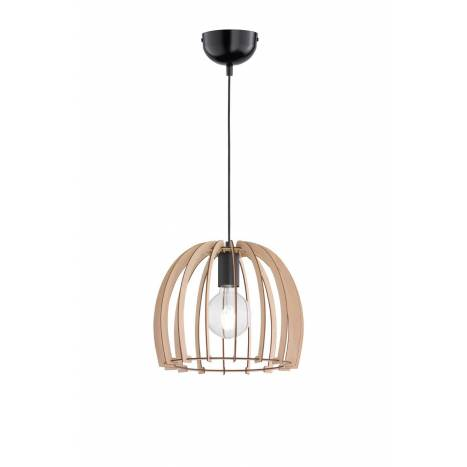 TRIO Wood pendant 1L E27 lamp 30cm