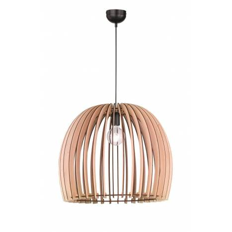 TRIO Wood pendant 1L E27 lamp 60cm