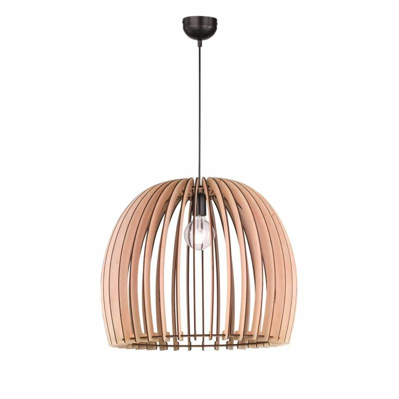 TRIO Wood pendant 1L E27 lamp 60cm