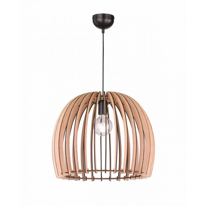 TRIO Wood pendant 1L E27 lamp 50cm