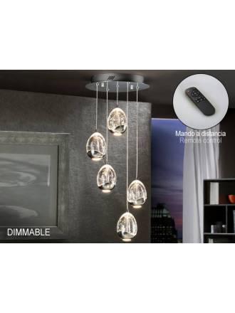 Lámpara colgante Rocio 5L LED Dimmable cromo - Schuller
