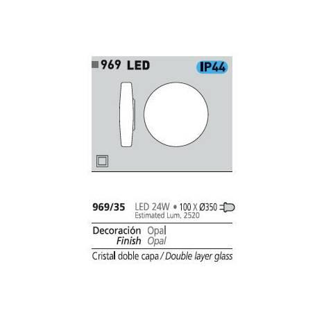 Plafon de techo 969 LED 24w en cristal opal de ACB