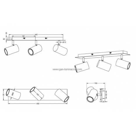 Regleta de focos Marley 3L GU10 blanco - Trio