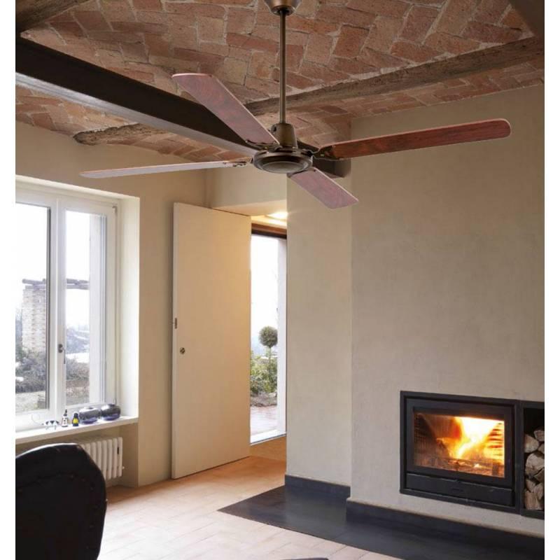 Ventilador de techo malvinas marr n oscuro faro - Ventilador de techo cocina ...