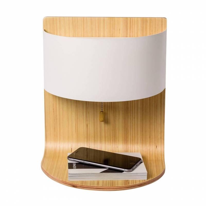 Aplique de pared robert 2l e14 madera tela sulion for Apliques para banos modernos