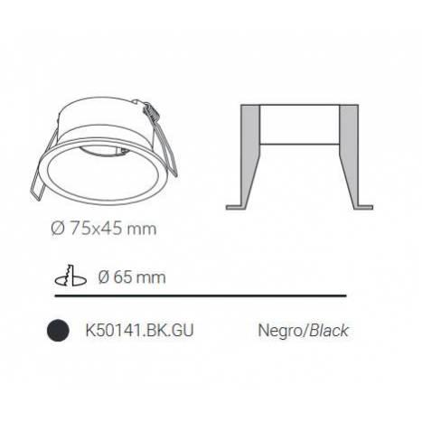 Foco empotrable Dawn fijo negro - Kohl