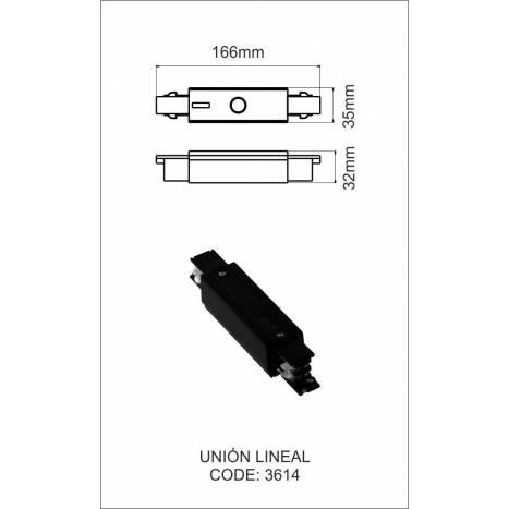Unión lineal carril trifasico negro