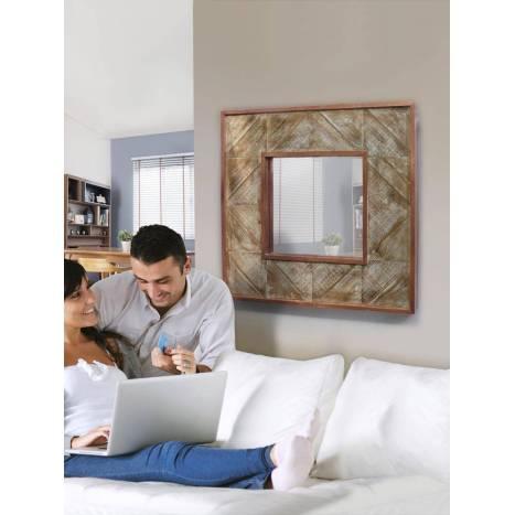 Espejo de pared Alpes 80x80cm cobre - Schuller