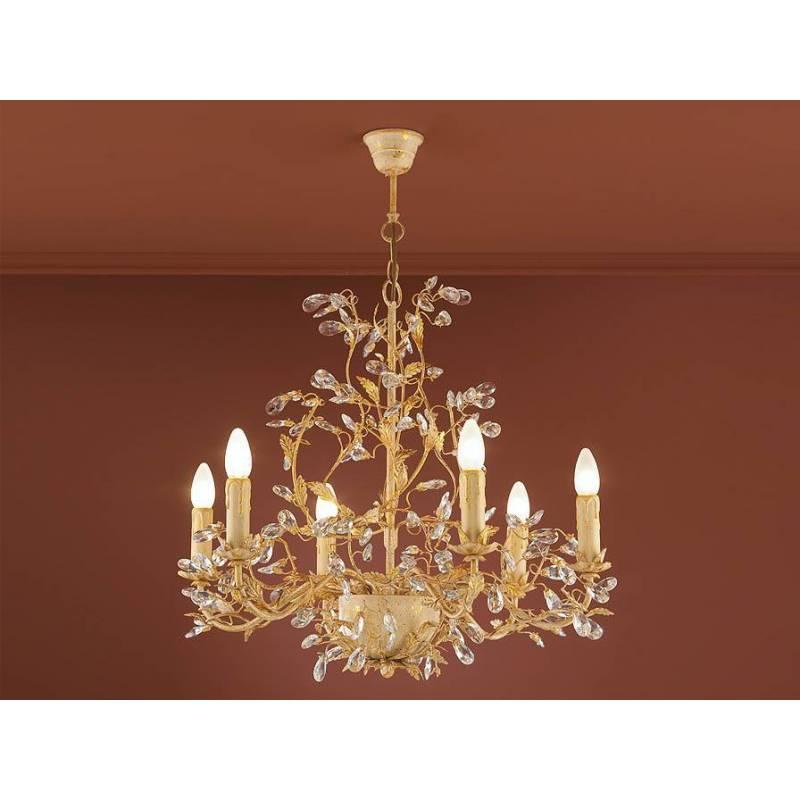 Lámpara colgante Verdi 6L E14 oro - Schuller