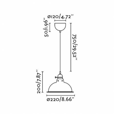 Lámpara colgante Pepper 1L E27 negro - Faro