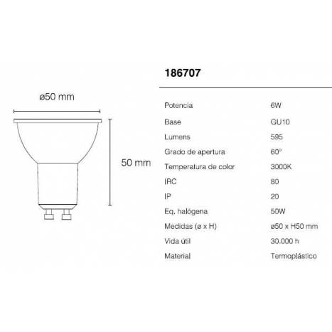 Bombilla LED 6w GU10 60º - Maslighting