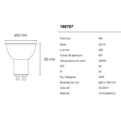 MASLIGHTING GU10 LED Bulb 6w 220v 60º