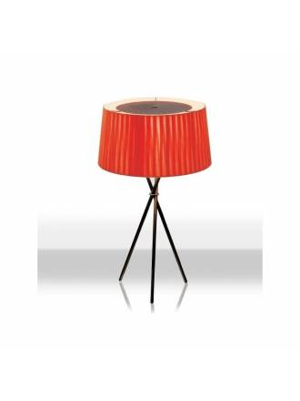 Tripode table lamp red fabric
