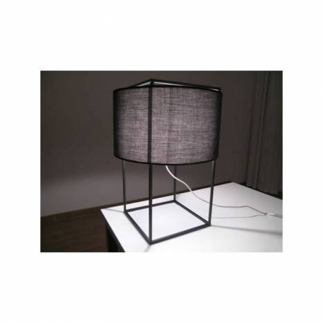 Grid table lamp 1L black fabric