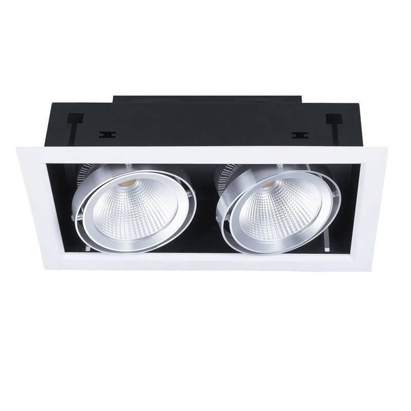 Foco empotrable cardan led 2x20w blanco kimera - Foco led empotrable ...