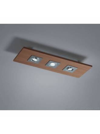 BRILLIANCE Solar ceiling lamp 3L LED GU10 wood colors