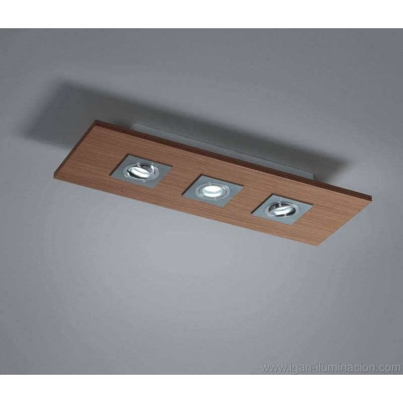 Plafon de techo solar 3 luces led gu10 madera brilliance - Luces led para techo ...