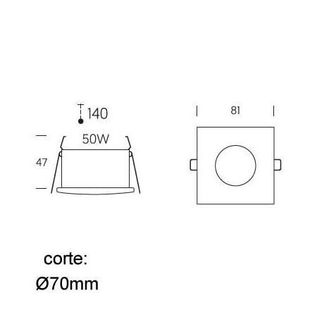 Foco empotrable 465 estanco IP65 cuadrado - Onok