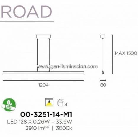 Lampara colgante Road LED 33w aluminio blanco de Leds C4
